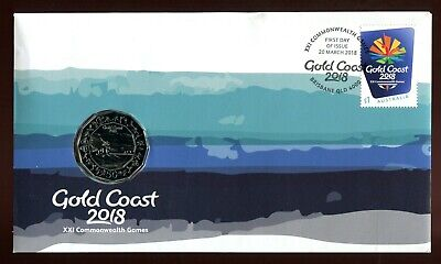 2018 XXI Gold Coast Commonwealth Games FDC/PNC With RAN 50c Coin