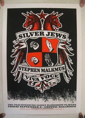 Silver Jews Poster Silkscreen Stephen Malkmus Crystal Ballroom The 9-8 Pavement