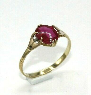 roter Spinell alter Ring    585 Gelb Gold    Ø 17.8 mm