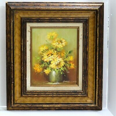 Robert Cox Signed Original Oil Painting Yellow Daisy (?) Flowers Wood Frame