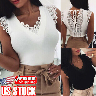 Women Backless Tank Tops Sleeveless Lace T-shirt Vest Summer Casual Loose Blouse