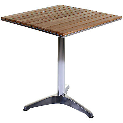 Bistro Table Aluminium Chrome & Wood Square Outdoor Garden Patio Cafe Furniture