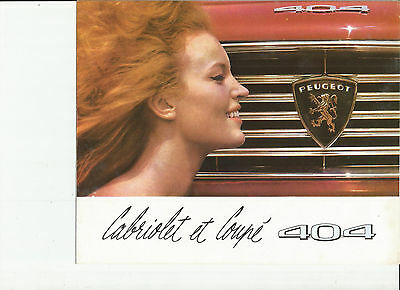 PEUGEOT 404 CABRIOLET + COUPE - 1964 / catalogue brochure prospekt catalogo