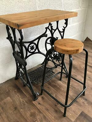 Rustic Industrial Reclaimed Table Laptop Table Singer Sewing Machine Stool