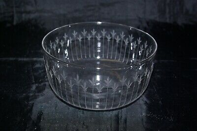 Antique Victorian  Finger Bowl Cut & Etched Crystal Glass Goblet Hand Blown