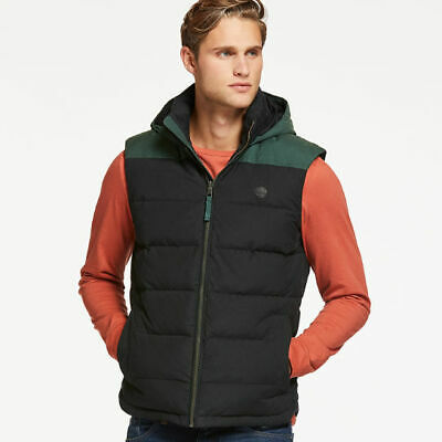 NWT Men's Timberland South Twin Hooded Down Vest Black & Green Two Tone Size S/P