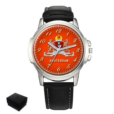 City Of Amsterdam Coat Of Arms Netherlands Gents Mens Wrist Watch Gift Engraving