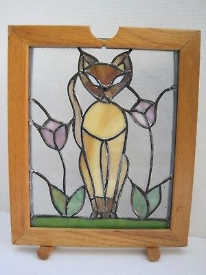 Vintage Framed Oak Stain Glass Simese Cat  Sun Catcher Picture Stands