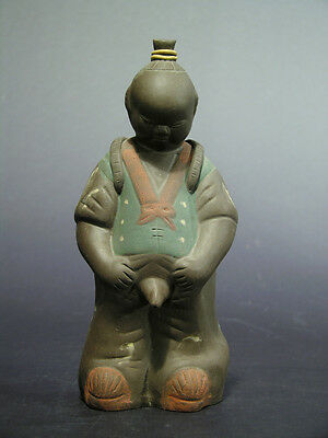 """Humorous Vintage Chinese Mud Figure Made to Pee from Water Basket 7 5/8"""""""