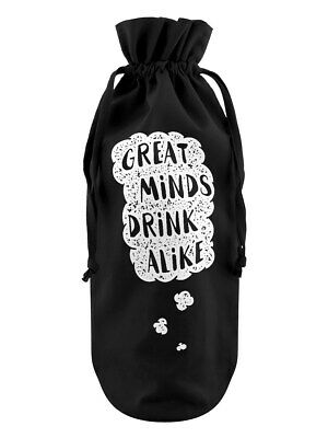 Bottle Bag Great Minds Drink Alike Cotton Drawstring Black 17x37cm