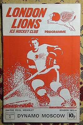 Programme friendly match London Lions - Dinamo Moscow 1973-74