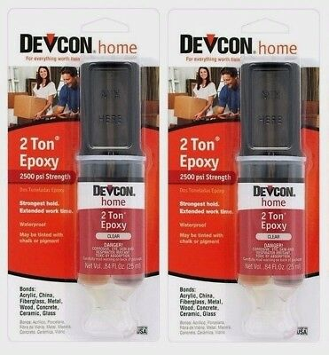 DEVCON 2 TON EPOXY 31345 High Strength Multi Surface Adhesive CLEAR .84oz (2pks)