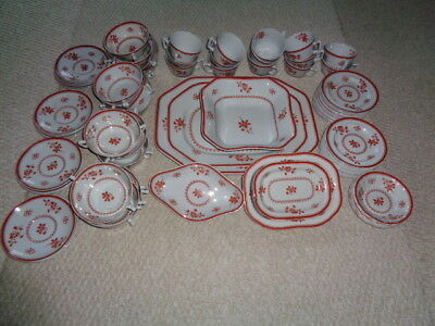 Copeland England Red fine stone Spodes Glouster floral large set 89 pieces cups