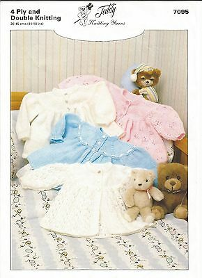 Lovely 4 ply and double knitting pattern for baby matinee jackets 14-18 inches