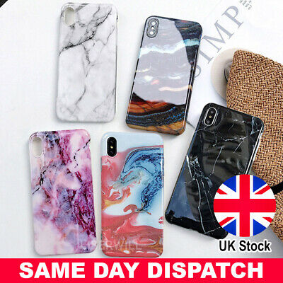 For iPhone 7 XR XS Max 6s 8 Plus Case Shockproof Silicone Gel Marble Print Cover