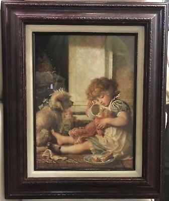Carl Wilhelm Bauerle 1831-1912 German Art Portrait Say Please Little Girl Puppy
