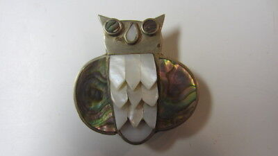 Vintage Abilone & Mother of Pearl Owl Belt Buckle, Made Mexico