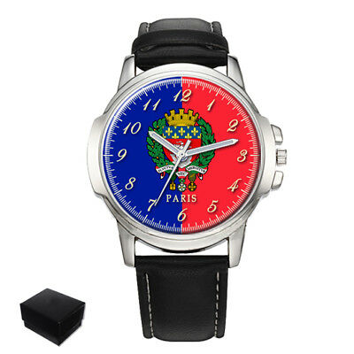 City Of Paris Flag Coat Of Arms France Gents Mens Wrist Watch  Gift Engraving