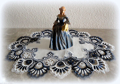 Doily Delicate Trim BLUEBERRY BLUE Lace Place mat Oval Navy Dresser Scarf