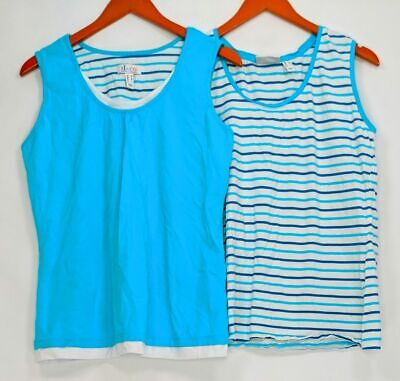 Denim /& Co Set 2 Stripe/& Solid Knit Tank Tops Pink L NEW A303100