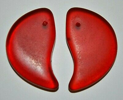 Antique Czech Molded Red Glass Lion Claw Tabular Wedding Beads, African Trade