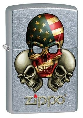 5c34a7317790 ZIPPO LIGHTER  AMERICAN Flag Skull - Black Matte 79101 -  22.99 ...