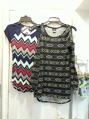 74576b1bf71 Rue 21 Lot Of 2 Tunic Tops Shirts Juniors Women Size Small S Aztec Cold  Shoulder