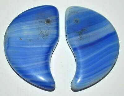 Antique Czech Molded Blue Glass Lion Claw Tabular Wedding Beads, African Trade