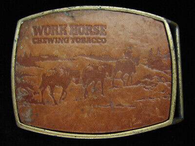 OF05118 VINTAGE 1970s **WORK HORSE CHEWING TOBACCO** LEATHER BELT BUCKLE