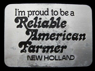 Lg21157 Vintage 1982 *New Holland* Proud To Be A Reliable American Farmer Buckle