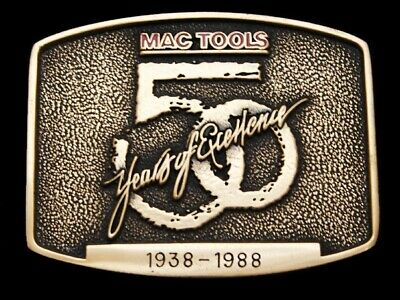 Lg27168 Great Vintage 1988 *Mac Tools* 50 Years Of Excellence Solid Brass Buckle