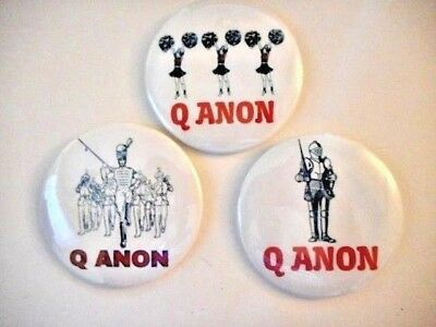 3 Lot Patriotic Qanon Button Pin American Spirit Q Anon The Great Awakening Usa