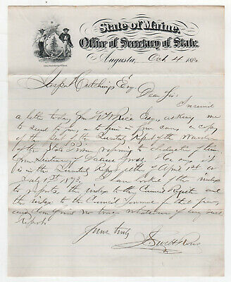 1880 MAINE Political Letter SECRETARY OF STATE Augusta LETTERHEAD New England