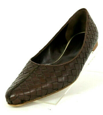 f70931f6791 BOTTEGA VENETA Chocolate Brown Intrecciato Leather Ballet Flats 37.5