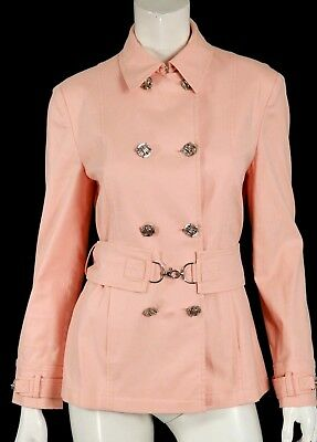 VERSACE Peach Cotton Blend Belted Double-Breasted Button Front Jacket 44