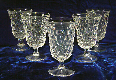 """Beautiful Vintage Fostoria American 5-1/2"""" Low Footed Water Goblets - Five"""