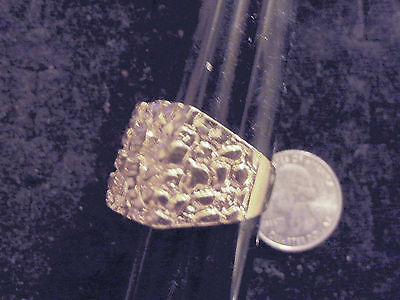 bling gold plated dress fashion nugget ring band hip hop thug jewelry size 9