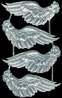 Scrap Die cut Dresden Extra Large Silver Paper Wings Victorian Crafts