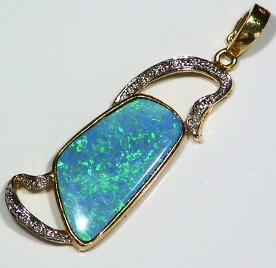 Vintage 14K Solid Gold Natural Boulder Opal Diamond Anniversary Necklace Retro