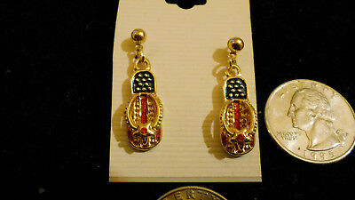bling gold plated nostalgic usa flip flop crystal stud ear ring hip hop jewelry