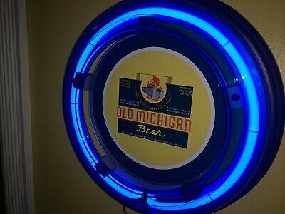 ***Old Michigan Beer Bar Advertising Man Cave Blue Neon Wall Sign