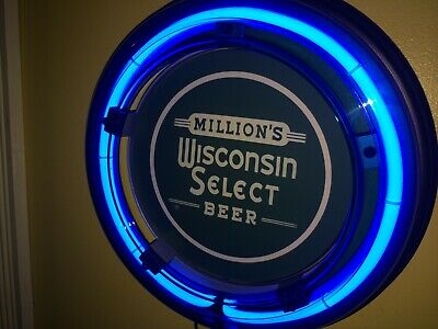 ***Million's Wisconsin Select Beer Bar Advertising Man Cave Blue Neon Wall Sign