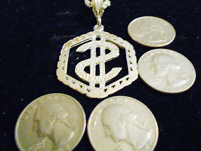 bling  silver plated FASHION JEWELRY dollar sign charm chain necklace hip hop GP