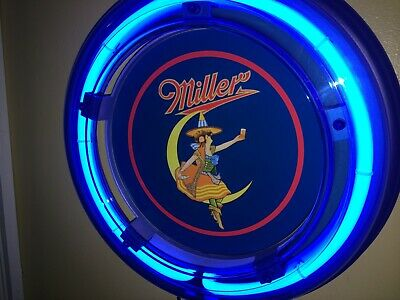 ***Miller High Life Girl Moon Beer Bar Advertising Man Cave Blue Neon Wall Sign