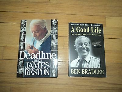 2 Newspaper Autobiographies James Reston NY Times & Bill Bradlee Washington Post
