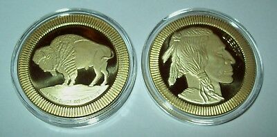 Buffalo Indian Head Silver 1 Troy Oz .999 Fine Stackable Round 24K Gold Gilded
