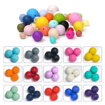 20Pcs Round Shape Silicone Teething Beads Safety For DIY Baby Teether Toy Series