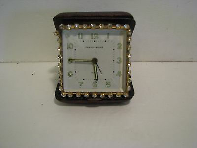 Vintage Phinney Walker Rhinestones Clock Alarm Folding  Germany