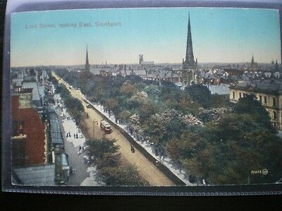 Postcard Southport Lord Street Looking East Showing Trams & Tracks
