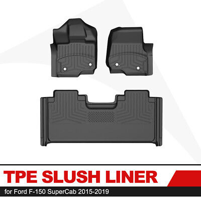 KIWI MASTER Floor Mat 1st Row Rear TPE Slush Liner for 15-19 Ford F-150 SuperCab